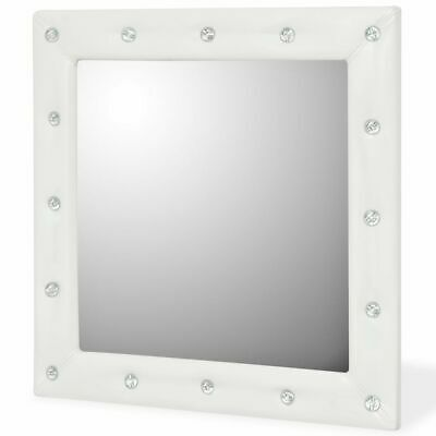 Beautiful Miroir Mural Blanc Simili Cuir Strass Photos ...