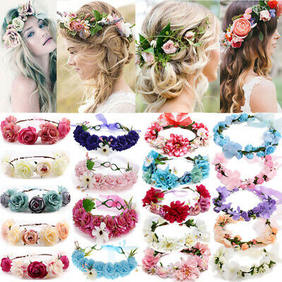 Garland Boho Large Flower Crown Floral Women Hairband Headband Party Wedding