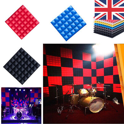 20pcs 30x30 Acoustic Panels Tiles Flame Retardant Sound Absorption Proof Foam UK