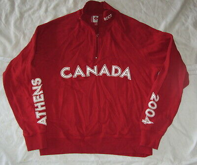 Roots Canada Olympic Athens 2004 1/4 Zip Sweatshirt Mens Small Canadian Team