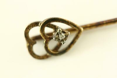 Vintage Estate Jewelry Diamond Accent Gold Tone Metal Double Heart Stickpin