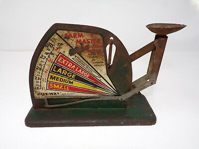 Antique vintage egg scale Jiffy Way metal rustic ranch country decor works 331