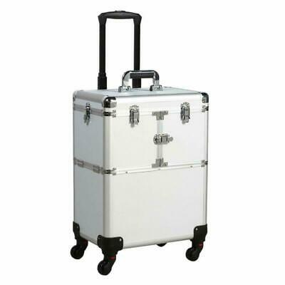 Aluminum Rolling Makeup Train Case Salon Cosmetic Organizer Trolley Durable Made