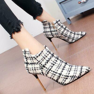 Womens High Heels Stilettos Pointed Toe Side Zipper Sexy Style Chic Boots Vogue