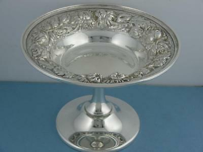 Sterling STIEFF Compote footed Dish STIEFF ROSE Repousse Floral no.126