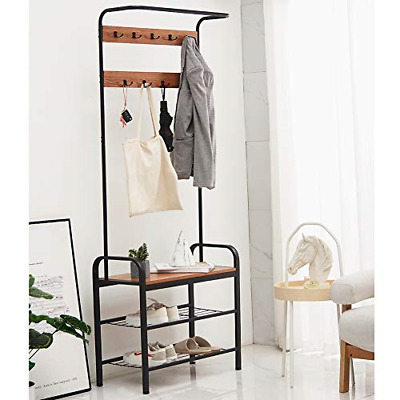 Blissun Vintage Coat Rack, Hall Tree with Storage Bench, Entryway Shoe Rack with