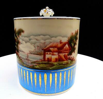 """Old Paris French Porcelain Hand Painted Cabin By The Lake Scene 5 3/4"""" Jar"""
