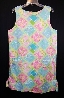 dc2ca76d7e1816 Lilly Pulitzer Womens Surf & Patch Classic Shift Dress 14 Xl Vintage Rare  Wow