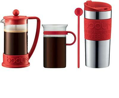 Bodum - K10948-294 - Set Cafetière à Piston 3 Tasses, 0.35l - Mug de Rouge