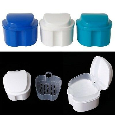 Denture Box Case Denture Bath Cleaning Cup Dental Retainer False Teeth Box LU7