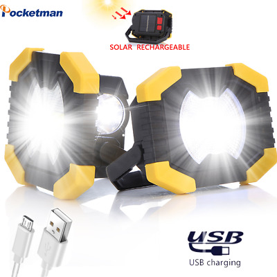 50W Portable Spotlight Led Work Light USB Rechargeable Flashlight Solar Light