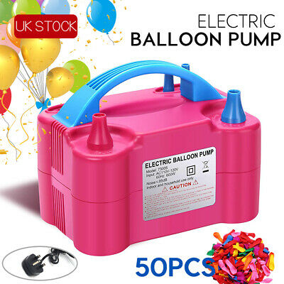 Portable 600W Electric Balloon Pump Inflator Air Blower Two Nozzle Party UK