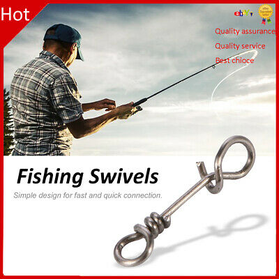 100pcs Stainless Steel Fishing Swivels Snaps Hooks Fast Connector Clip Tackle TD