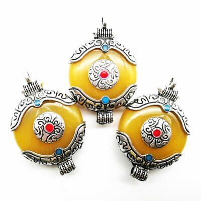 Carved Tibetan Silver Red&Blue Turquoise Yellow Jade Round Pendant Bead LL702-05