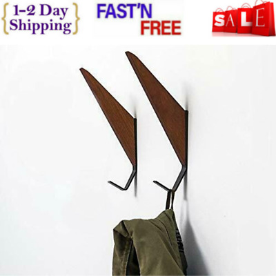 Mid-Century Coat Hooks Modern Teak Wood Wall (Set Of 2) Office Products