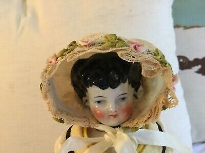 Antique Lace Doll Bonnet With flower trim and ribbon