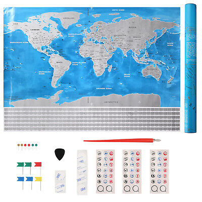 Scratch Off World Map 82.5cm x 59.5cm Wall Decoration Creative Gift Travel Story