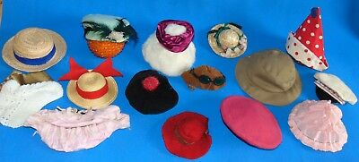 LOT  OF  ANTIQUE  and  VINTAGE  16  PIeCES  DOLL 'S  HATS ....DIVERS  SIZE