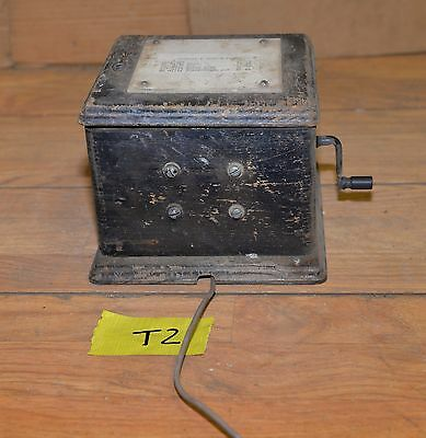 Antique Western Electric telephone magneto 48A oak dovetail case collectible T2