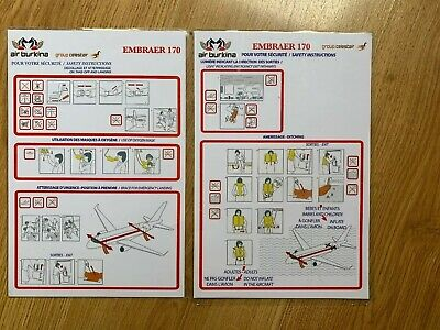 AIR BURKINA  EMBRAER 170  Safety Card VERY Rare In Good Condition.