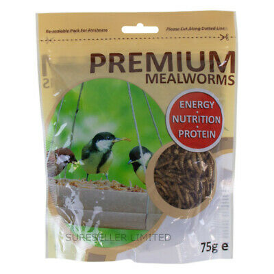 75g Premium Dried Mealworms, Top Quality, Wild Bird Feed Food Dried Mealworm