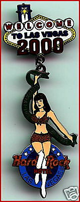Hard Rock Hotel LAS VEGAS 2000 NEW YEAR'S PIN Girl Dangling From WELCOME Sign