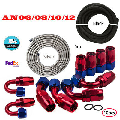 AN6 -8AN AN-10-12AN Fitting Stainless Steel Nylon Braided Oil Fuel Hose Line Set