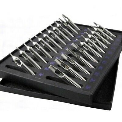 Stainless Steel Tattoo Tips Set of 22 Round Flat Diamond and Cleaning Brushes