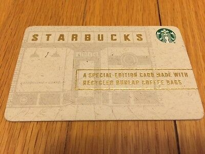 """Canada Series Starbucks """"RECYCLED BURLAP 2016"""" Gift Card - New No Value"""