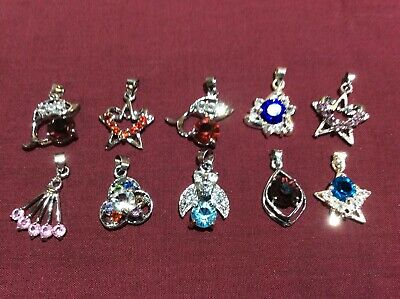 10 SMALL CRYSTAL STONE PENDANTS - SILVER TONE CLAW SETTING - NEW No 36