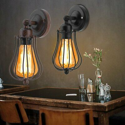 Retro Vintage Antique Industrial Wall Light Rustic Iron Cage Wall Sconce Lamp MI