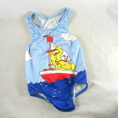 Sesame Street Muppets One-Piece Swimsuit Girls 3T Union Made USA 1980s