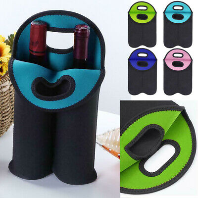 Set of 2 Neoprene Wine Carrier Tote Bag Beer Water Protective Insulated Case #c