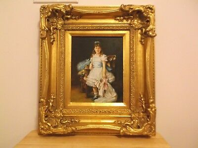 CR) Ornate Frame Vintage Signed Oil on Board Portrait Young Girl holding a Doll