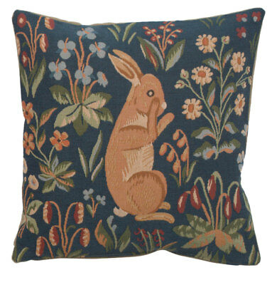 Medieval Rabbit Standing Bunny French Tapestry Cushion Cover Hand Finished