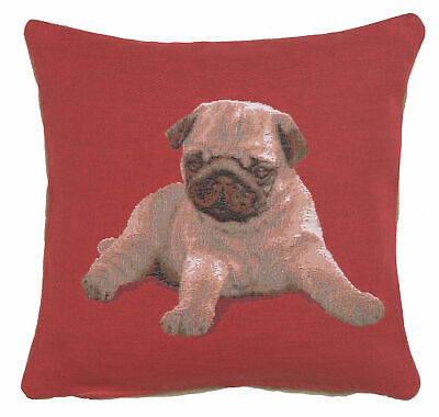 Puppy Pug Red French Tapestry Cushion Pillow Cover Vintage Style Home Decor Art