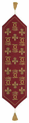 Chenonceau Rouge French Medieval Fleur De Lys and Crown Tapestry Table Runner