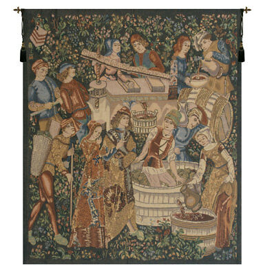 Vendages, Left Side - Rust Medieval Wine Belgian Woven Tapestry Wall Hanging