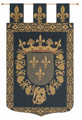 Blois With Loops Belgian Medieval Coat of Arms Woven Tapestry Wall Hanging NEW