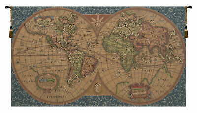 Old Map of the World Blue Italian Wall Art Tapestry Wall Hanging