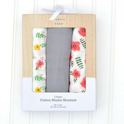 Modern Baby Girl Poppy Floral Print Cotton Muslin Swaddle Blankets