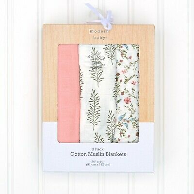 Modern Baby Girl Floral Print Cotton Muslin Swaddle Blankets Pink