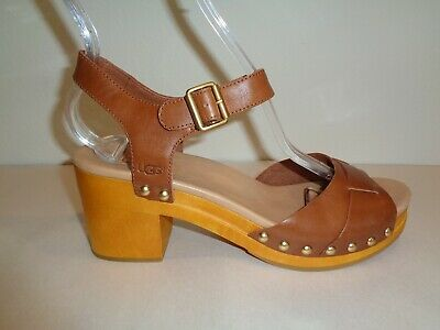 525b83d2b8a UGG AUSTRALIA SIZE 8 JANIE Rust Leather Heel Sandals New Womens Shoes