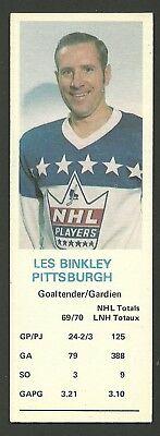 Les Binkley Pittsburgh Penguins Goalie 1970-71 Dad's Cookies Hockey Card EX/MT