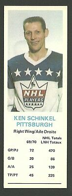 Ken Schinkel Pittsburgh Penguins 1970-71 Dad's Cookies Hockey Card EX/MT
