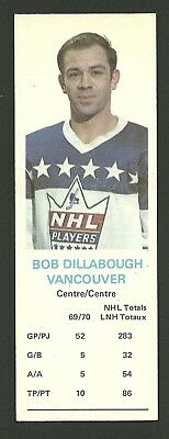 Bob Dillabough Vancouver Canucks 1970-71 Dad's Cookies Hockey Card EX/MT