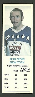 Bob Nevin New York Rangers 1970-71 Dad's Cookies Hockey Card EX/MT