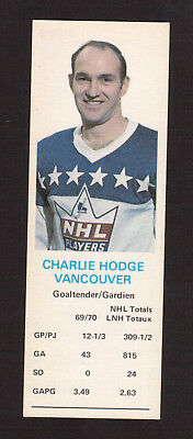 Charlie Hodge Vancouver Canucks 1970-71 Dad's Cookies Hockey Card EX/MT