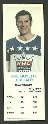 Phil Goyette Buffalo Sabres 1970-71 Dad's Cookies Hockey Card EX/MT