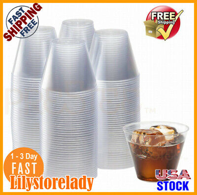 X200 ✅9oz Disposable Hard Plastic.cups For Catering Serving Cocktail Wine Pic